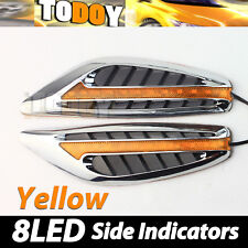 Hot Pair Amber Color 8 LED Car Fender Side Indicators Turn Signal Panels lights