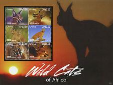 Ghana 2015 MNH Wild Cats of Africa 6v M/S I Wild Animals Fauna Caracal