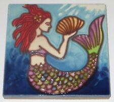 """Mermaid Shell Art Tile 4""""x4"""" Decorative Ceramic New Backsplash Red Hair Sd-196"""