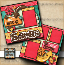 SISTERS girl 2 premade scrapbook pages paper piecing layout for album~ DIGISCRAP
