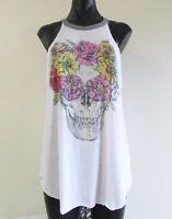 Chaser Size L White Cut In Shoulder Mock Neck Skull Floral Print Soft Tank Top