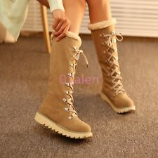 Womens Lady Flat Heel Lace up Knee High Fur Lined Snow Winter Punk Comfort Boot
