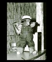 Vintage Funny Monkey Drinking Beer PHOTO Circus Chimpanzee, Costume Freak Creepy