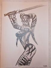 A4 Art Graphite Pencil Sketch Drawing Darth Talon with Lightsaber Star Wars b