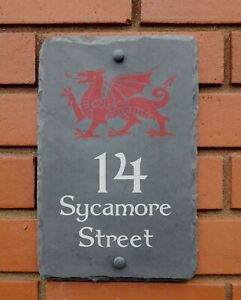 natural slate house sign plaque with welsh dragon