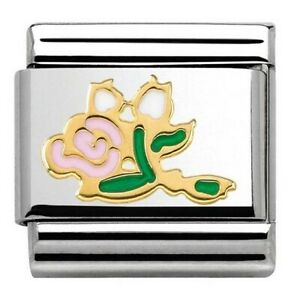 Nomination 18ct Gold & Pink Enamel Bunch of Roses Charm 030285/36 rrp £22