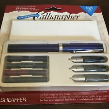 VINTAGE SHEAFFER CALLIGRAPHY SET - w FOUNTAIN PEN, 3 NIBS, 4 COLORS, CARDS & ENV