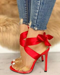 Women Stiletto Sandals Cross Strappy High Heels Open Toe Sandals Shoes Nightclub