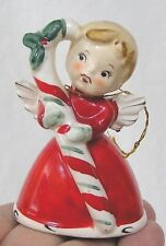 Vintage Christmas Angel Bell Ornament Holds Lge Candy Cane Made in Japan