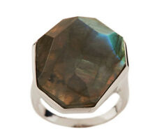 Lee Sands Bezel Set Labradorite Faceted Sterling Silver Ring Size 7 QVC
