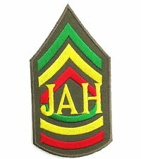 JAH Rasta Army Sgt Major Reggae Selassie Iron On Shirt Jacket Badge Patch