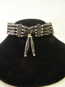 NATIVE AMERICAN Apache Style Bone Choker W/ center piece--Four Strand- BLACK