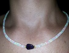 Stunning light show of super fire opal and green flash black opal 14k necklace