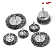 Crimped Wire Wheel Cup Brush Set Coarse Crimped Carbon Steel Universal Fit 6pcs