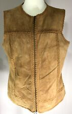 Cabela's Womens Tan Leather Vest Size L with Zip front
