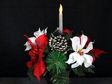 Solar Light Flickering Candle Cemetery Silk Flower Headstone/Tombstone Vase Bush