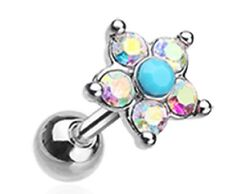 Cartilage Tragus 16g 1pc Tragus Starburst Turquoise Sparkle Flower
