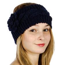 Stylish Cable Knit Flower Headband/Headwrap Women's Fall/Winter Navy Blue