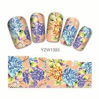 2 Sheets Nail Art Water Decal Flower Design Manicure Transfer Sticker Decor Tips