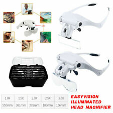 Head Magnifier with 2 LED Lights Magnifying glass hands free LED Lamp Headband~~