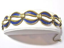 ROUND LINK NAVY BLUE WHITE ENAMEL VINTAGE BRACELET EARLY CROWN TRIFARI SIGNED