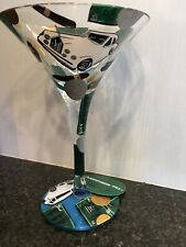 "LOLITA HAND PAINTED GOLD GREEN MARTINI GLASS ""THE MILLIONAIRE"", NEW IN BOX"