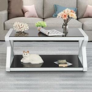 Rectangle Glass Coffee Table Modern Living Room Furniture  Lower Shelf Black