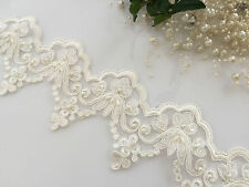 1 Yard  Beaded Lace Trim off white(light ivory)Bridal white  for invitation