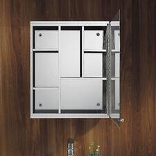 Luxury Stainless Steel Single Door Wall Mount Mirror Cabinet Storage Bathroom