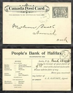 3463 - LEVIS Quebec 1898 Jubilee Postal Card. People's Bank of Halifax