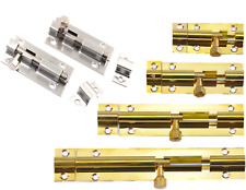SLIDE BOLT LOCK LATCH DOORS SHED BATHROOM SMALL MEDIUM LARGE SILVER BRASS