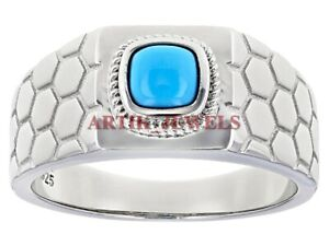 Natural Turquoise Gemstone with 925 Sterling Silver Ring for Men's #2889