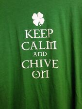 Keep Calm and Chive On St Patricks Day Shamrock Clover Green Men's L T-Shirt The