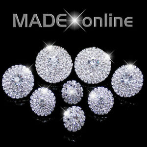 Large Round Diamante Stud Earrings Round Sparkle Bling