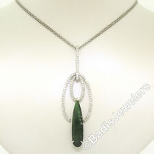 "NEW 18k White Gold 16.5"" 6.39ctw Pear Green Tourmaline Diamond Pendant Necklace"