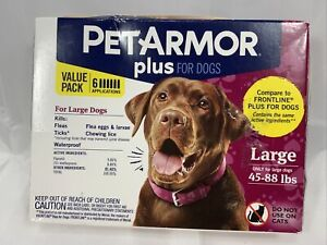 PetArmor Plus Flea and Tick Prevention for Large Dogs 45-88 Pounds 6 pack