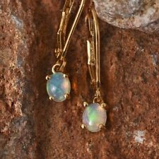 AA Ethiopian Welo Opal 925 Sterling Silver Delicate Leverback Earrings.