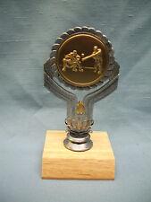 Baseball trophy pewter color finish gold metal insert wood base