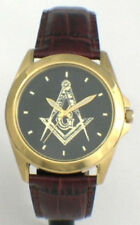 CITIZEN BRAND CUSTOM MASONIC MEDALLION DIAL WATCH - ELEGANT LEATHER STRAP - NEW