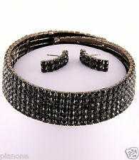 6-Row Black Rhinestone Choker Necklace & Post Earrings Set