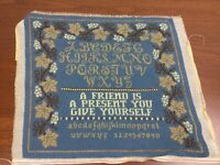 Vtg Wool Tapestry Embroidered Sampler Poem Cross stitch Pillow cover Wall hanger