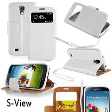 Samsung Galaxy S4 Cover weiß Hülle S-View Stand Handy Case Schutz Display