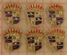 "6 vintage bullion appliques crest crown design red gold blue India 3"" x 2.5"""