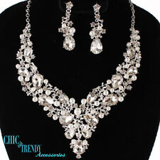 HIGH END CLEAR CHUNKY CRYSTAL & WHITE PEARL WEDDING FORMAL NECKLACE JEWELRY SET