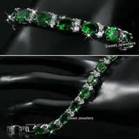 Silver Emerald Green & Crystal Diamonds Tennis Bracelet Xmas Gifts For Women Her