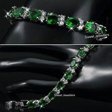Silber Smaragd Grün & Kristall Diamanten Tennis Armband Weihnachten Geschenke