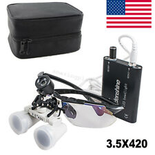 【USA】Dental 3.5x 420mm Surgical Medical Binocular loupe Head Light Lamp + Case