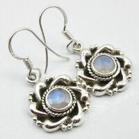 Genuine RAINBOW MOONSTONE 925 Solid Silver Earrings 1.2 Inch SilverStarJewel