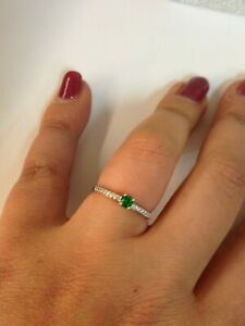 anello donna solitario oro bianco 18 kt 750% misura 12 zirconi bianchi e verde