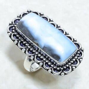 Owyhee Blue Opal Gemstone Handmade Silver Jewelry Ring Size 7 RLG7488